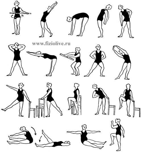 An approximate complex of therapeutic exercises in pregnancy up to 16 weeks