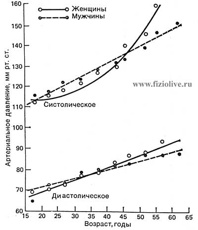 Systolic and diastolic blood pressure depending on age and gender