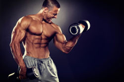 Strength training with dumbbells for biceps